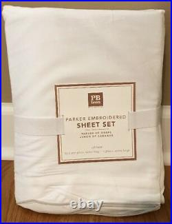 NEW Pottery Barn Teen Parker Embroidered Sateen TWIN Sheet Set GRAY
