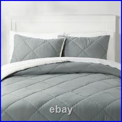 NEW Pottery Barn Teen Recycled Super Soft Sherpa Comforter Twin Quilt, Sham Gray