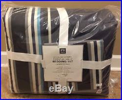 NEW Pottery Barn Teen Sideline Stripe XL TWIN Value Bedding Comforter Set BLUE