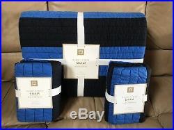 NEW Pottery Barn teen Rugby Stripe TWIN Quilt & 2 Standard ShamsNAVY BLUE