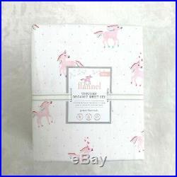 NEW Pottery barn kids Organic Flannel Rainbow Unicorn Twin Sheet set Pink Horse