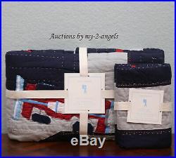NEW RARE Pottery Barn Kids RACE CAR Twin Quilt + Standard Sham Set NAVY/GREY BOY