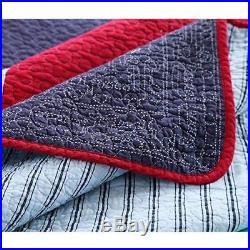 NEWLAKE 100% Cotton Plaid Quilt Comforter Childrenâs Bedspread Set, Train