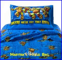 NICKELODEON TEENAGE MUTANT NINJA TURTLES Boy Twin Size Blue Comforter+Sheet+SHAM