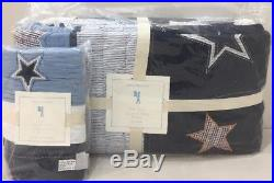 NIP 2P Pottery Barn Kids Blue STAR APPLIQUE Quilt STANDARD Sham TWIN