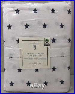 NIP 3P Pottery Barn Kids Navy ORGANIC FLANNEL STAR Cotton Sheet Set TWIN