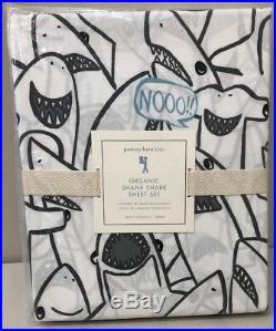 NIP 3P Pottery Barn Kids ORGANIC SHANE SHARK Cotton Sheet Set TWIN