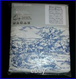 NIP IKEA 3 Pc Emmie Land Blue Toile Full Queen Sz Duvet Cover Set 2 Pillowcases