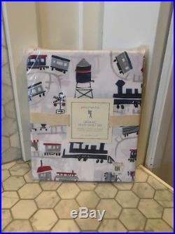 NIP Pottery Barn Kids ORGANIC TRAIN 100% Cotton Twin Sheet Set