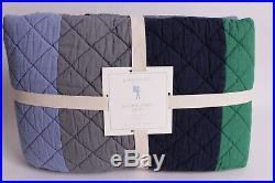 NWT Pottery Barn Kids Block Stripe twin quilt kelly green navy blue gray 2 avai