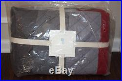 NWT Pottery Barn Kids Block Stripe twin quilt red gray