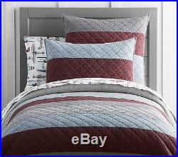 NWT Pottery Barn Kids Block Stripe twin quilt & standard sham blue chocolate
