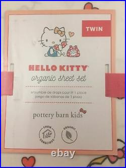 NWT Pottery Barn Kids Hello Kitty Twin Sheets set & Sham Cover Lot
