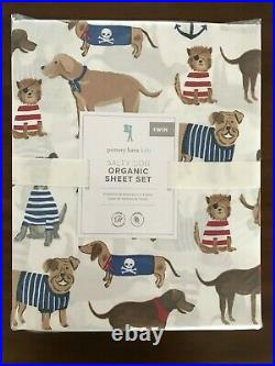 NWT Pottery Barn Kids ORGANIC Salty Dog Twin Sheet Set 3 pc