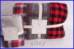 NWT Pottery Barn Kids Plaid Patchwork twin quilt & euro sham red black