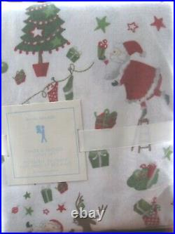 NWT Pottery Barn Kids SANTA and FRIENDS TWIN FLANNEL SHEET SET HOLIDAY
