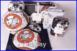 NWT Pottery Barn Kids Star Wars Droid twin quilt sham sheet set & 2 BB8 pillows