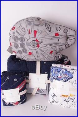 NWT Pottery Barn Kids Star Wars Millennium Falcon twin quilt sham sheet & pillow