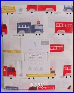 NWT Pottery Barn Kids Wyatt Fire Truck organic twin sheet set
