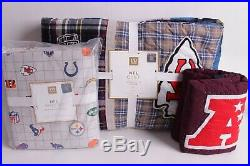 NWT Pottery Barn PB Teen NFL AFC football twin quilt, sham & sheet set