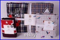 NWT Pottery Barn PB Teen NFL AFC football twin quilt, sham & sheet set XL dorm