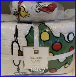 NWT Pottery Barn PB Teen Peanuts Holiday Twin Quilt With Sham Christmas Snoopy