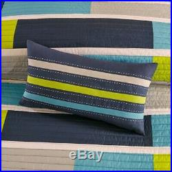 Navy Blue, Teal Grey & Neon Green Block Striped Teen Boys Twin 3 Piece Quilt Set