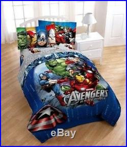 New Avengers Assemble Superhero Halo Twin Bed Set & Iron Man Deco Pillow Pal 6pc