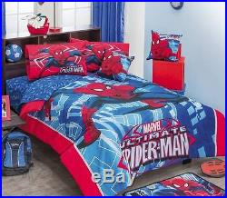 New Boy MARVEL SPIDER MAN Blue Comforter Double Sided Sheet 5 Piece Set TWIN NWT