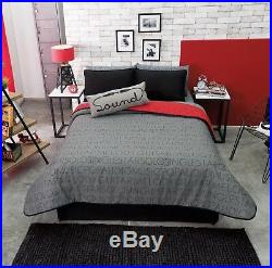 New Boys Red Gray Headphones Music Sound Reversible Comforter Bedding 4pcs Twin
