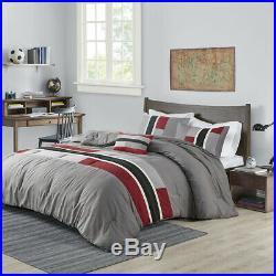 New! Cozy Modern Sporty Red Grey White Black Stripe Soft Boys Comforter Set
