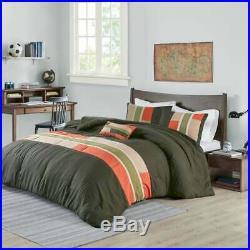 New! Cozy Sporty Orange Grey Tan Green Plaid Stripe Boys Soft Comforter Set
