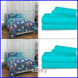 New Mainstays Kids Outer Space Bed in a Bag Twin Blue Boys or Girls Bedding Set