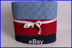 New Pottery Barn Kids Block Stripe twin quilt red blue gray