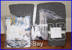 New Pottery Barn Kids Star Wars x-wing TIE fighter twin quilt, sham & sheet set