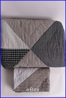New Pottery Barn PB Teen Huntley Patch twin quilt & sham stripe gray khaki tan