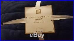 New Pottery Barn Teen NAVY Emerson Corduroy Twin QUILT blue kids