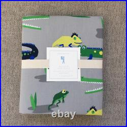 New Pottery barn kids alligator Jeremy Twin sheet set Duvet cover green navy 4pc
