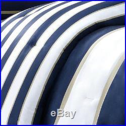 New! Sporty Cozy Blue White Navy Tan Beige Boy Teen Stripe Soft Comforter Set