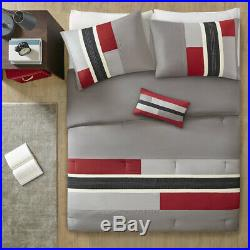 New! Sporty Modern Red Grey Black White Grey Chevron Stripe Boys Comforter Set