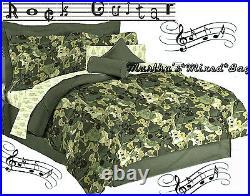 New Teen BOYS GUITAR Music Green ComforterSheetsSham(s)Skirt BED in a Bag Set