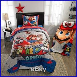 Nintendo Super Mario Bros Twin Comforter, Sheets + BONUS SHAM 5Pc Bed In A Bag
