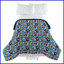 Nintendo Super Mario Trifecta Fun Twin Comforter 100Percent polyester Microfiber
