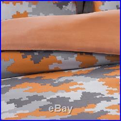 Orange Grey Silver Modern Camo Camouflage Boys Soft Comforter Set & Pillow New