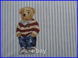 POLO Ralph Lauren Boy Teddy Bear TWIN Blue Stripe Sheet Set Cotton 3 PCS NEW