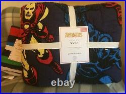 POTTERY BARN KIDS Avengers Heroes FULL/QUEEN Quilt & 1 STANDARD Sham NEW
