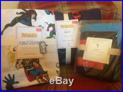 POTTERY BARN KIDS Avengers TWIN Quilt Sham & Glow in the Dark Sheets 5pc Set NEW