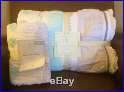 POTTERY BARN KIDS Bailey Ruffle Twin Quilt & EURO Sham 2 pc Set NEW