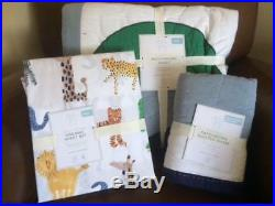 POTTERY BARN KIDS Connor Patchwork TWIN Quilt Sham w Safari Sheets Set NEW