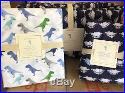 POTTERY BARN KIDS Dempsey DINO Wholecloth TWIN Quilt & Sham w Sheets 5pc Set-NEW